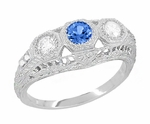Filigree Edwardian Sapphire and Diamonds 3 Stone Engagement Ring in 14 Karat White Gold | Yogo Sapphire Color