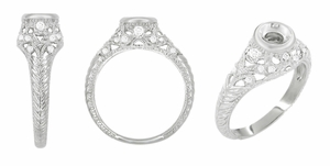 Art Deco Filigree Engagement Ring Setting in 14 Karat White Gold for a 1/4 - 1/3 Carat Diamond - Item R648 - Image 1