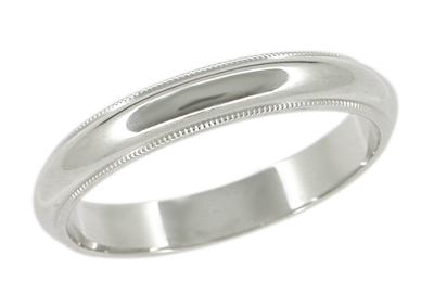 4mm Wide Millgrain Wedding Band Ring in 18 Karat White Gold