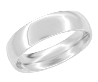 Size 12 | Heavy 6 mm Comfort Fit Wedding Band Ring in 14K White Gold