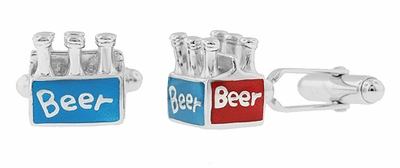 6 Pack Beer Cufflinks in Sterling Silver with Red and Blue Enamel - Item SCL164 - Image 1
