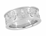 8mm Wide Vintage Fleur-de-Lis Wedding Band Ring Design in 14 Karat White Gold
