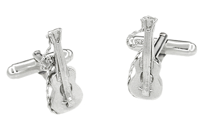 Acoustic Bass Guitar Cufflinks in Sterling Silver