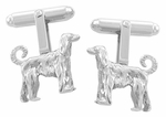 Afghan Hound Cufflinks in Sterling Silver