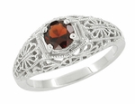 Filigree Flowers Edwardian Dome Almandite Garnet Promise Ring in Sterling Silver