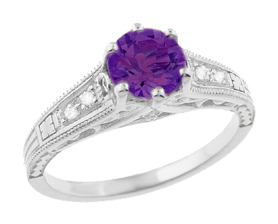 1920's Art Deco Filigree Amethyst Engagement Ring with Diamonds in 14K White Gold