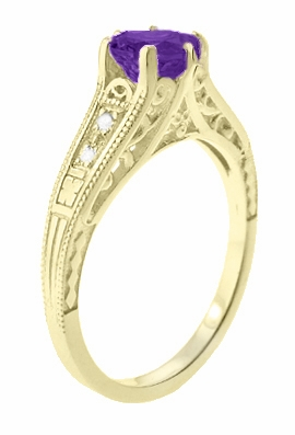 Amethyst and Diamond Filigree Engagement Ring in 14 Karat Yellow Gold - Item R158YAM - Image 2