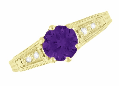 Amethyst and Diamond Filigree Engagement Ring in 14 Karat Yellow Gold - Item R158YAM - Image 5