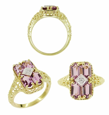 Amethyst and Diamond Filigree Ring in 14 Karat Gold - Item RV151 - Image 1