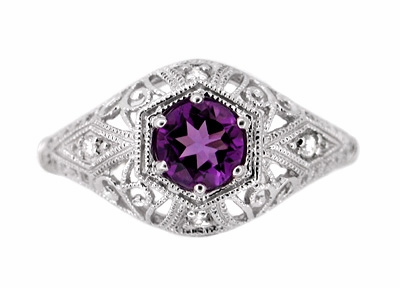 Amethyst and Diamonds Filigree Scroll Dome Edwardian Engagement Ring in 14 Karat White Gold - Item R139 - Image 1