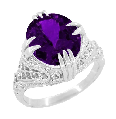 Amethyst Art Deco Filigree Ring in 14 Karat White Gold
