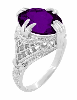 Amethyst Art Deco Filigree Ring in 14 Karat White Gold - Item R157AM - Image 2