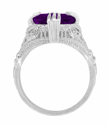 Amethyst Art Deco Filigree Ring in 14 Karat White Gold - Item R157AM - Image 3