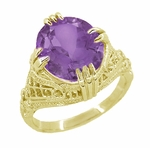Amethyst Art Deco Filigree Ring in 14 Karat Yellow Gold