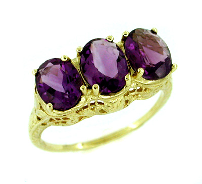 Amethyst Trio Filigree Ring in 14 Karat Yellow Gold