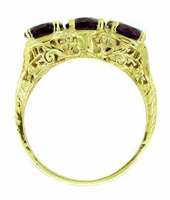 Amethyst Trio Filigree Ring in 14 Karat Yellow Gold - Item R159 - Image 1