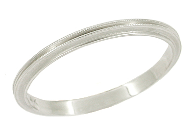Antique Art Deco Grooved Wedding Band in 14 Karat White Gold - Size 7 1/2