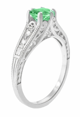 Antique Deco Style Filigree Spearmint Green Tourmaline and Diamond Engagement Ring in 14 Karat White Gold - Item R158TO - Image 1