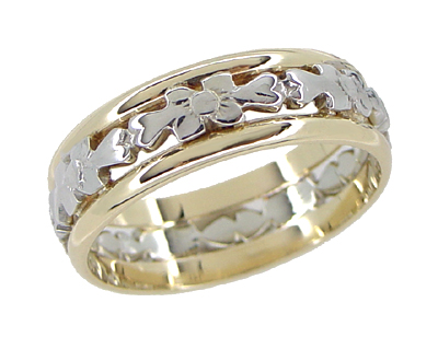 Antique Floral Filigree Wedding Ring in 14 and 18 Karat White and Yellow Gold - Size 6