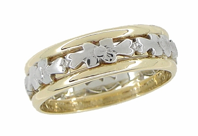 Antique Floral Filigree Wedding Ring in 14 and 18 Karat White and Yellow Gold - Size 6 - Item R877 - Image 1