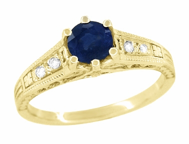 Antique Inspired 14K Yellow Gold Sapphire and Diamond Art Deco Filigree Engagement Ring - Item R158Y - Image 1
