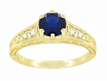 Antique Inspired 14K Yellow Gold Sapphire and Diamond Art Deco Filigree Engagement Ring - Item R158Y - Image 4