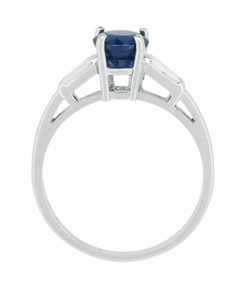 Antique Mid Century Blue Sapphire and Diamond Baguettes Engagement Ring in Platinum - Item R950P - Image 2