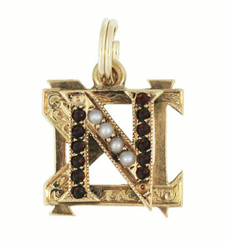 Antique Nu Sigma Nu Fraternity Charm in 14 Karat Yellow Gold