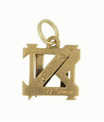 Antique Nu Sigma Nu Fraternity Charm in 14 Karat Yellow Gold - Item C610 - Image 1