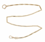 1800s Victorian Era Antique Paperclip Link Pocket Watch Chain in 14K Yellow Gold - 16 Inches