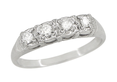Antique Retro Moderne Four Diamond Filigree Wedding Ring | 14 Karat White Gold