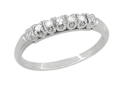 Antique Retro Moderne Diamond Row Filigree Wedding Ring in 14 Karat White Gold