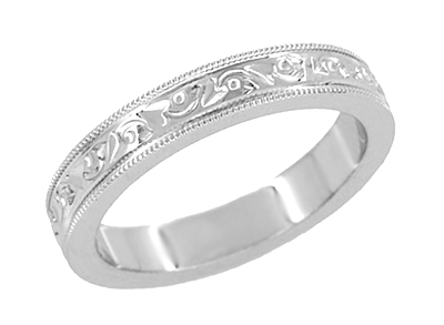 Antique Style Art Deco Flowers and Leaves Millgrain Edged Wedding Band in 14 Karat White Gold