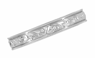 Antique Style Art Deco Flowers and Leaves Millgrain Edged Wedding Band in 14 Karat White Gold - Item R1160 - Image 1