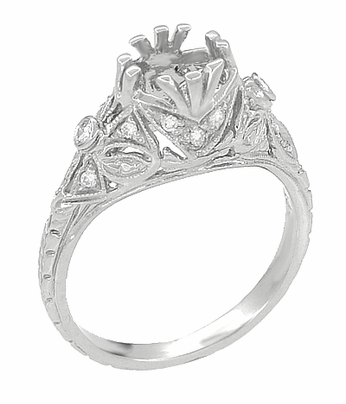Antique Style Edwardian Filigree 3/4 Carat Engagement Ring Mounting in 18K White Gold | 6mm Round Setting - Item R679 - Image 1