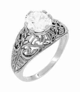 Antique Style Edwardian Filigree Engraved Cubic Zirconia ( CZ ) Promise Ring in Sterling Silver - Item SSR9 - Image 1