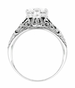 Antique Style Edwardian Filigree Engraved Cubic Zirconia ( CZ ) Ring in Sterling Silver - Item SSR9 - Image 2