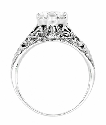 Antique Style Edwardian Filigree Engraved Cubic Zirconia ( CZ ) Promise Ring in Sterling Silver - Item SSR9 - Image 2