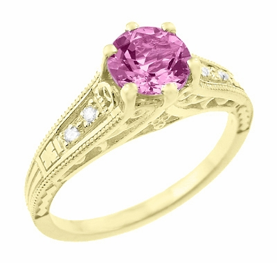Antique Style Pink Sapphire and Diamonds Filigree Art Deco Engagement Ring in 14 Karat Yellow Gold - Item R158YPS - Image 1
