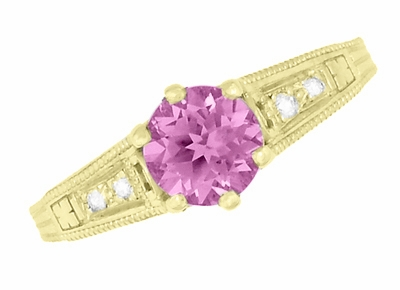 Antique Style Pink Sapphire and Diamonds Filigree Art Deco Engagement Ring in 14 Karat Yellow Gold - Item R158YPS - Image 5