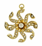 Antique Victorian Diamond and Seed Pearl Scroll Sunburst Pendant Brooch in 10 Karat Gold