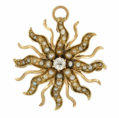 Antique Victorian Diamond and Seed Pearl Sunburst Pendant Brooch in 14 Karat Gold - Item BR211 - Image 1