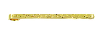 Antique Victorian Engraved Scroll Bar Brooch Pin in 9 Karat Gold