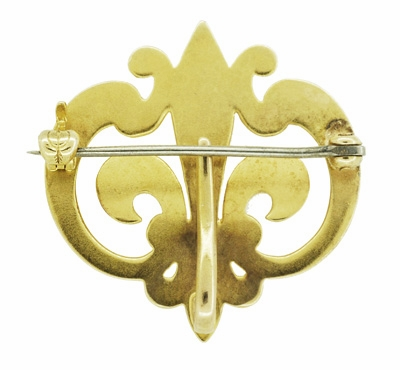 Antique Victorian Fleur De Lis Scroll Brooch and Watch Pin in 14 Karat Yellow Gold - Item BR181 - Image 1