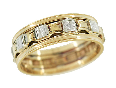 Antique Victorian Flowers and Bars Wedding Ring in 14 Karat White and Yellow Gold - Size 7