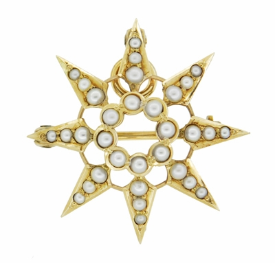 Antique Victorian Seed Pearl Starburst Pendant Brooch 14 Karat Yellow Gold - Item BR191 - Image 1