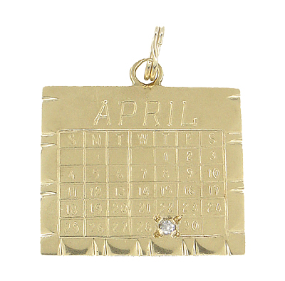 April 29 Calendar Charm Set With Diamond in 14 Karat Gold