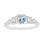 3/4 Carat Aquamarine and Diamond Art Deco Engagement Ring in 18K White Gold