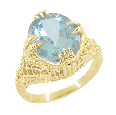 Aquamarine Art Deco Filigree Ring in 14 Karat Yellow Gold