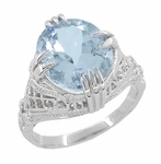 Art Deco Filigree Oval Aquamarine Ring in 14 Karat White Gold